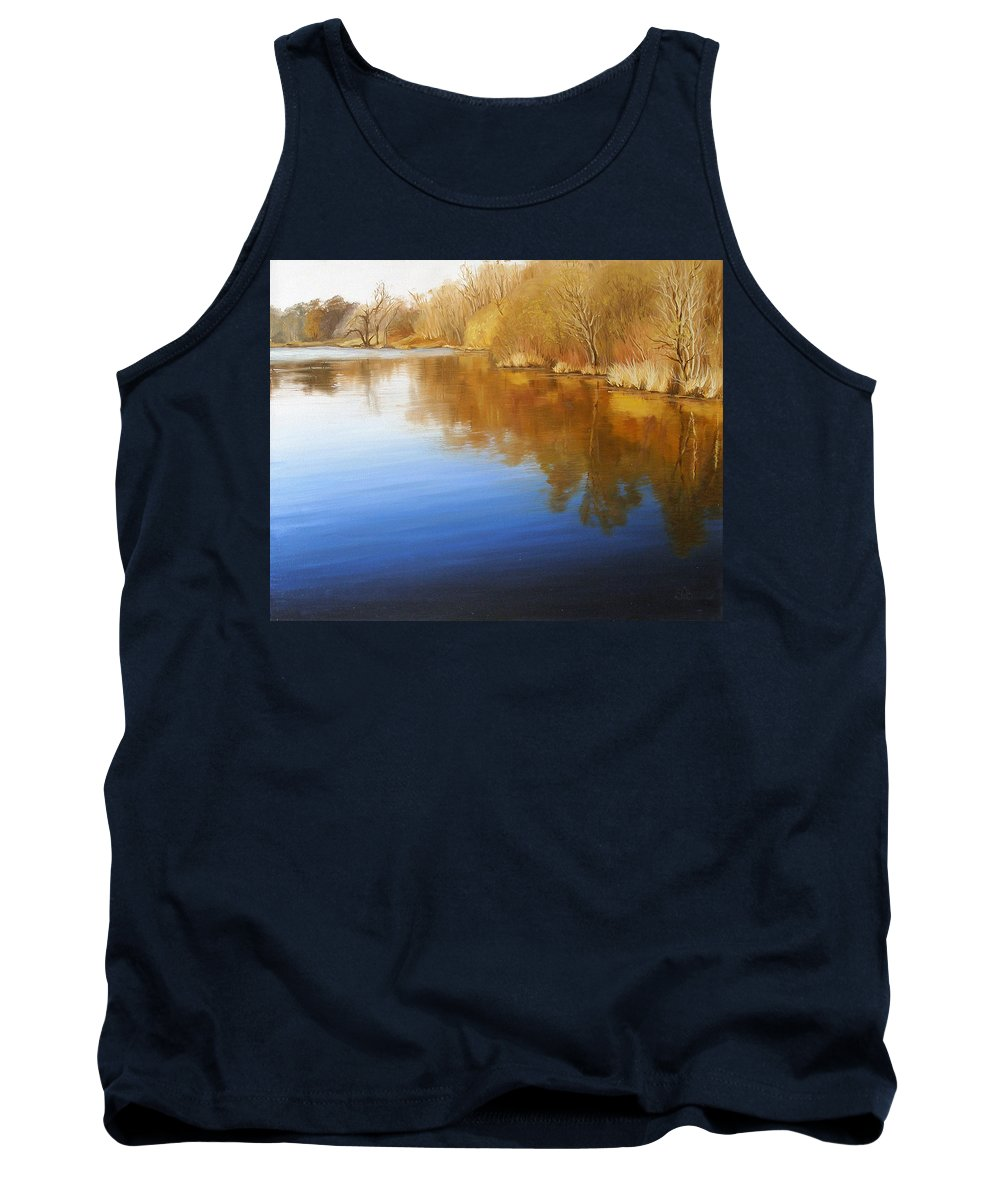 Landscape Tank Top featuring the painting Autumn River by Olena Lopatina