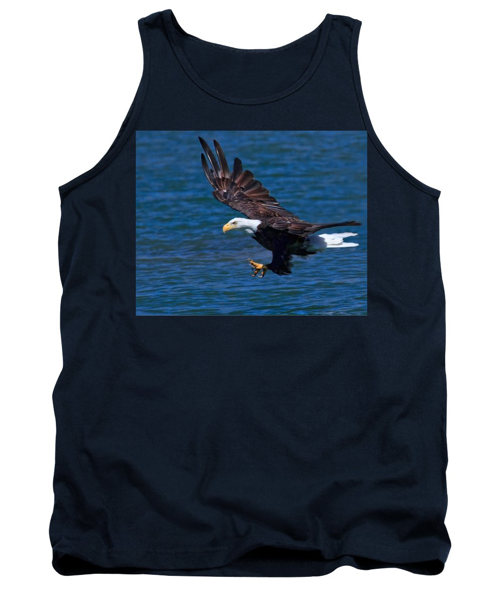 Bald Eagle Tank Top featuring the photograph Bald Eagle On The Hunt by Beth Sargent