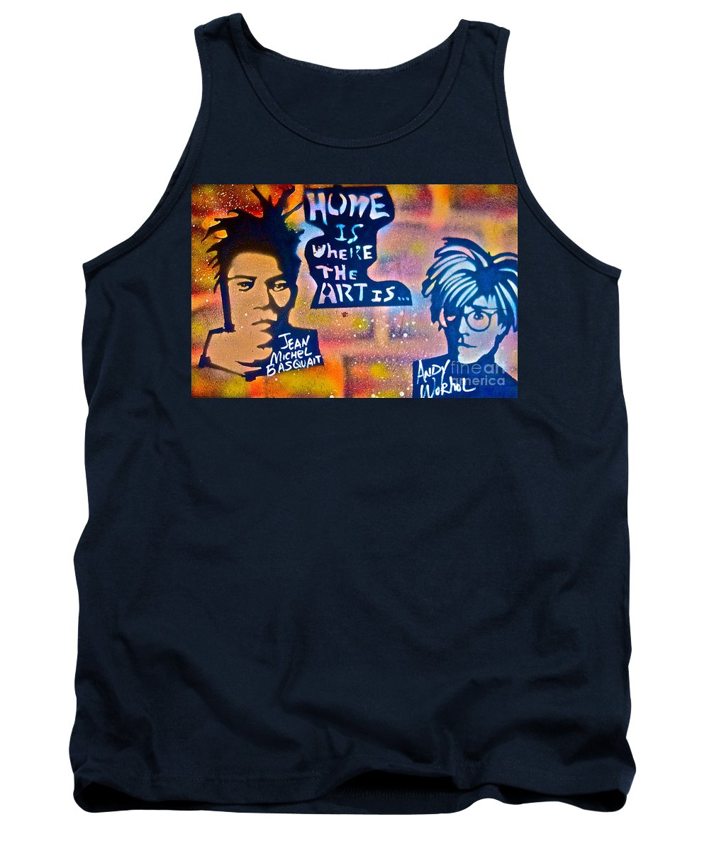 Graffiti Tank Top featuring the painting Basquait And Worhol by Tony B Conscious