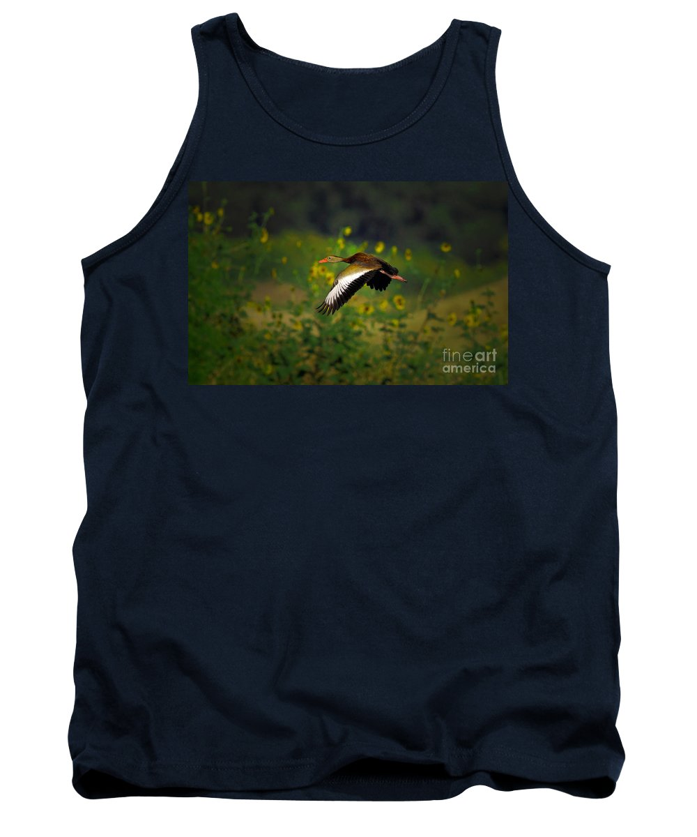 Animal Tank Top featuring the photograph Blackbellied Whistling Duck In Flight by Robert Frederick