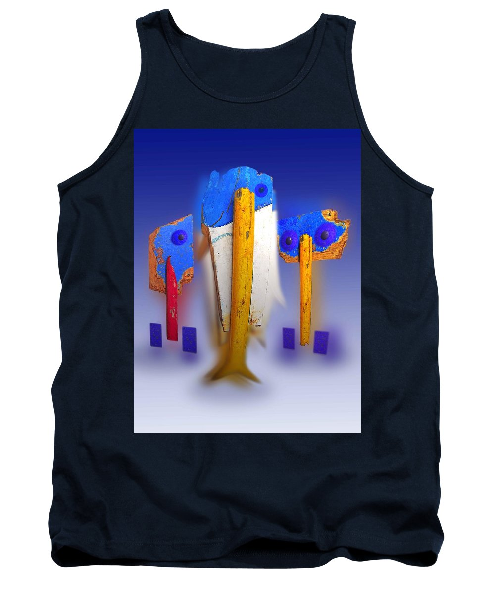 Blue Tank Top featuring the painting Blue Singers by Charles Stuart