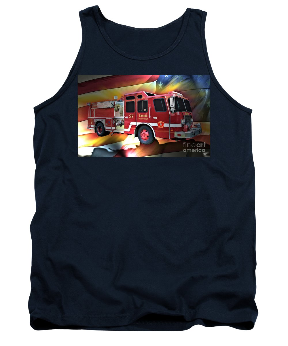 Boston Tank Top featuring the digital art Boston Engine 37 by Tommy Anderson