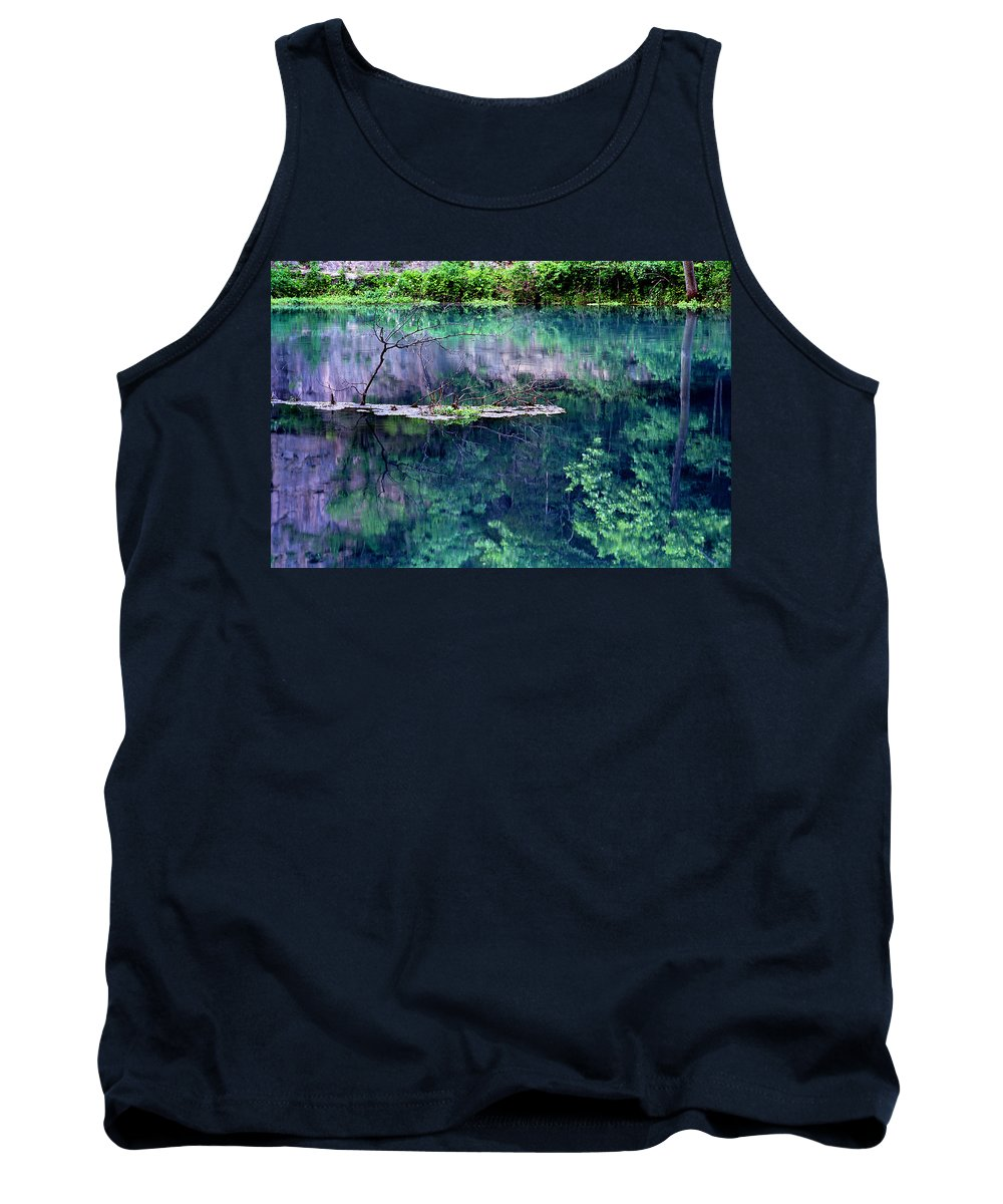 Reflections Tank Top featuring the photograph Branch And Reflections At Alley Spring State Park by Greg Matchick