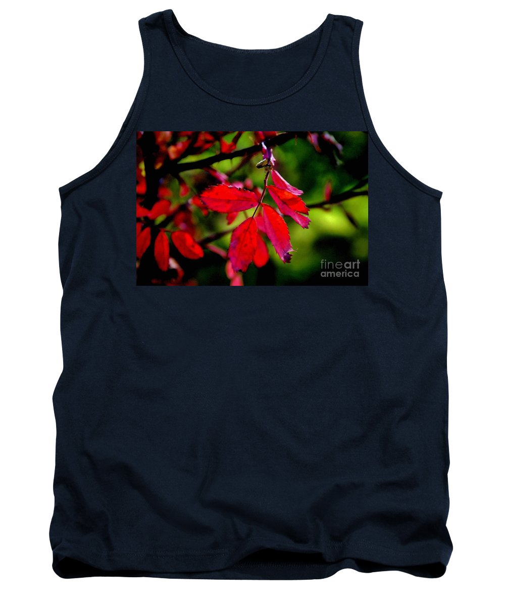 Leaves Tank Top featuring the photograph Bright Red by Ellen Heaverlo