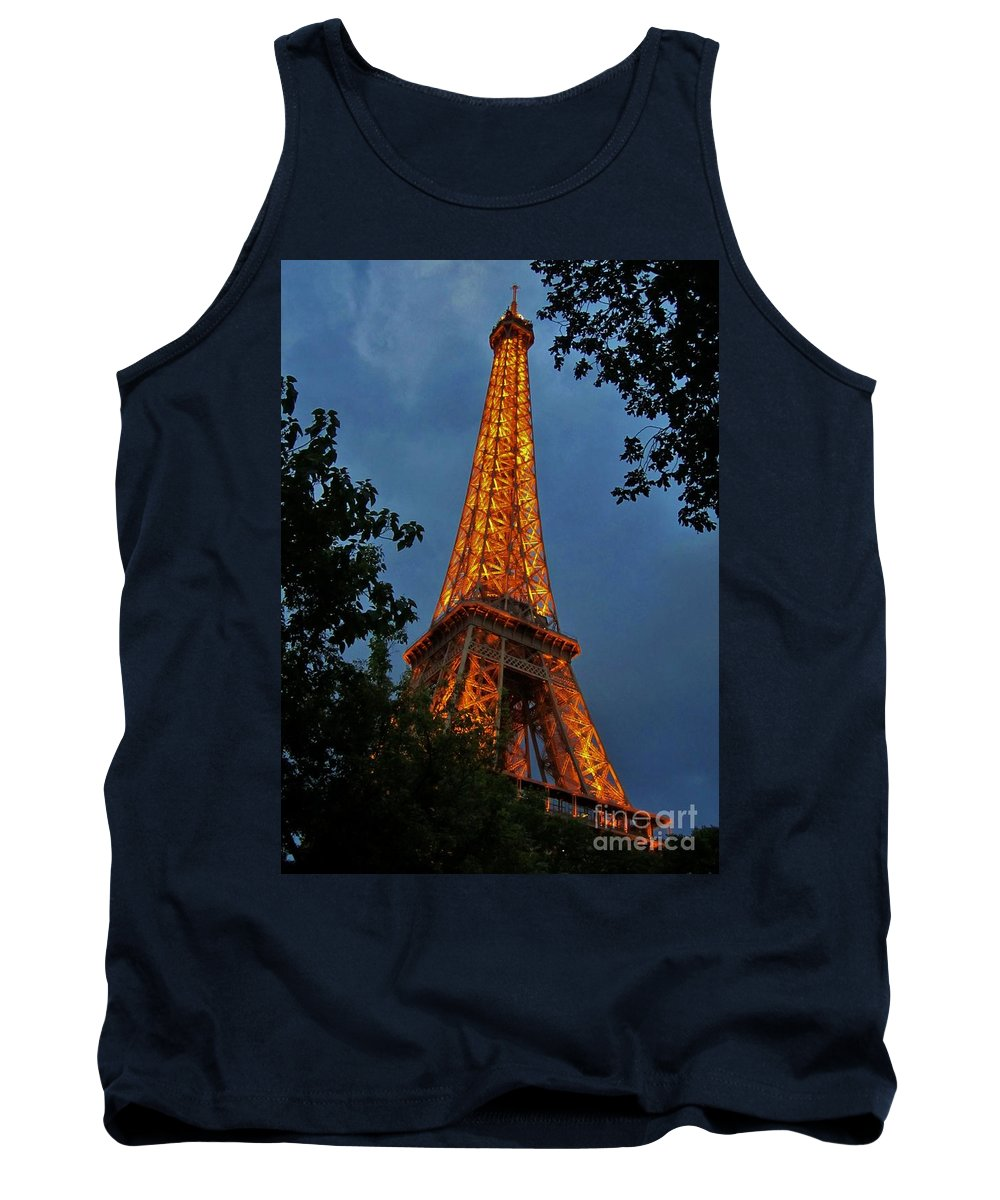 Eiffel Tower Tank Top featuring the photograph Eiffel Tower At Night by John Malone