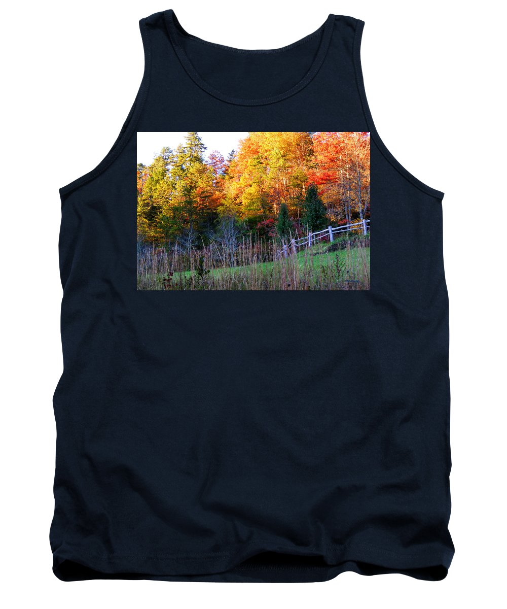 Fall Tank Top featuring the photograph Fall Trees And Fence by Duane McCullough