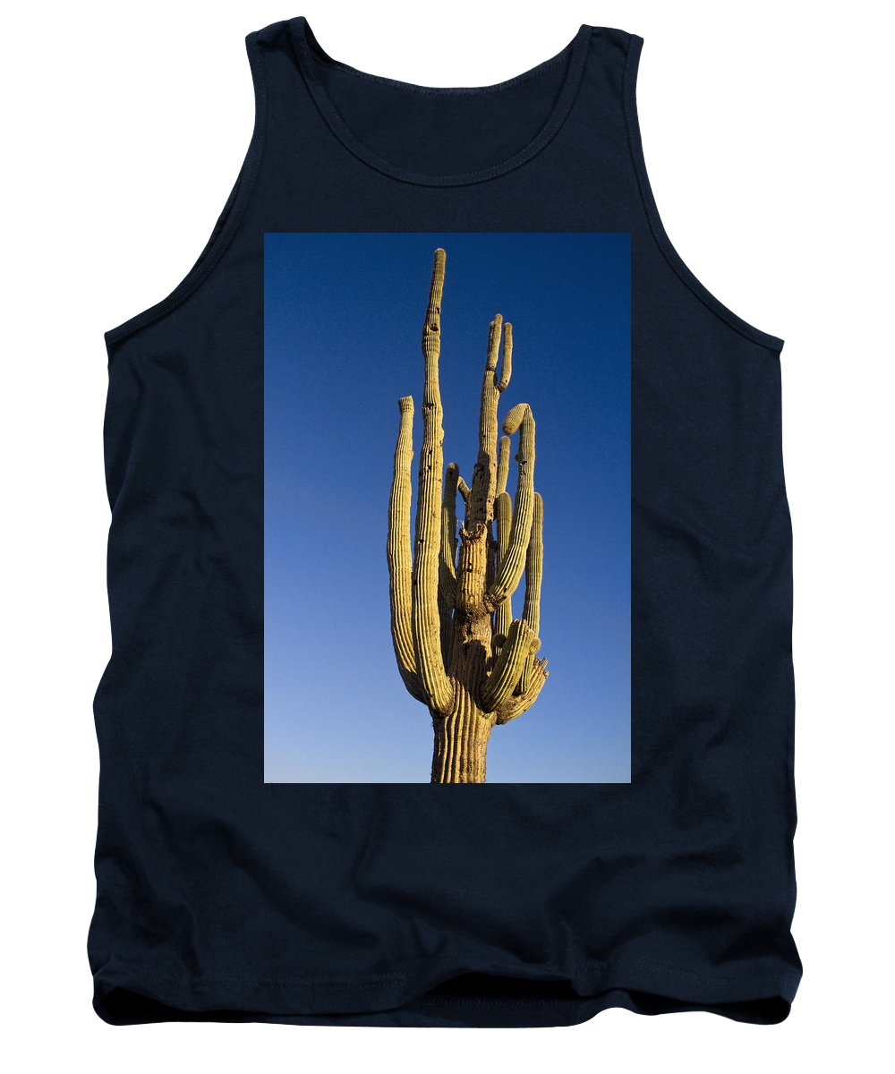 Giant Tank Top featuring the photograph Giant Saguaro Cactus Portrait With Blue Sky by James BO Insogna