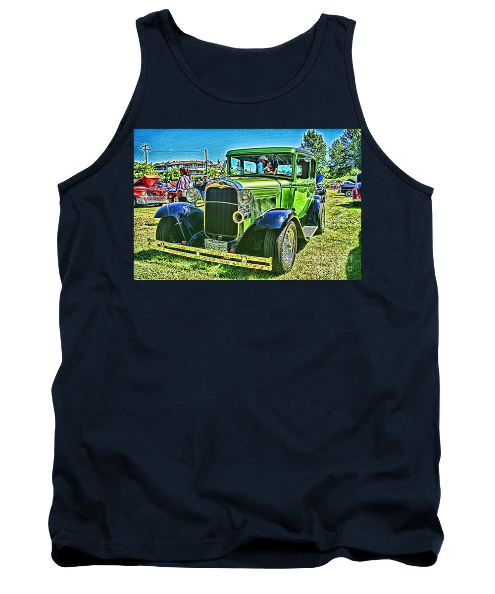 Cars Tank Top featuring the photograph Green Ford Street Rod Hdr by Randy Harris