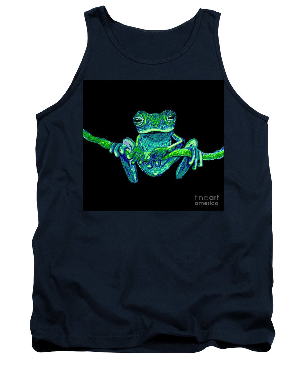 Green Ghost Frog Tank Top featuring the painting Green Ghost Frog by Nick Gustafson