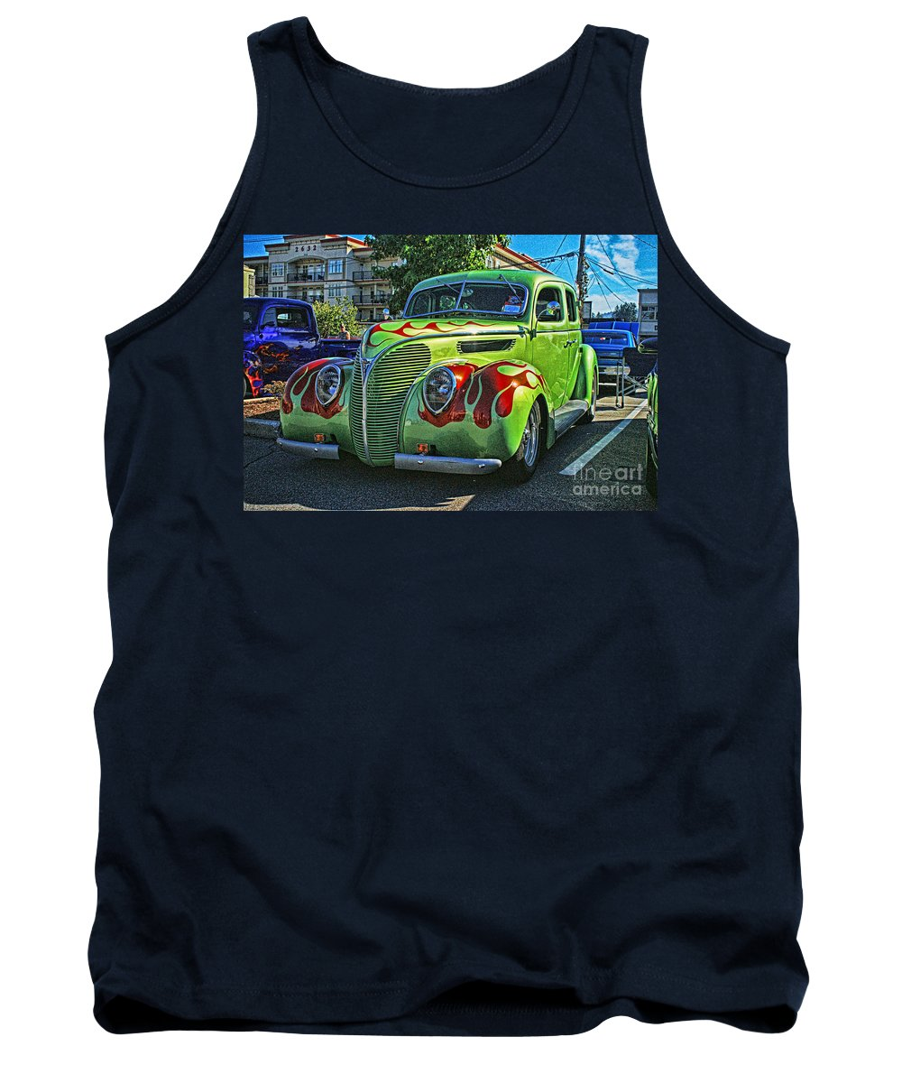 Cars Tank Top featuring the photograph Green With Flames Hdr by Randy Harris