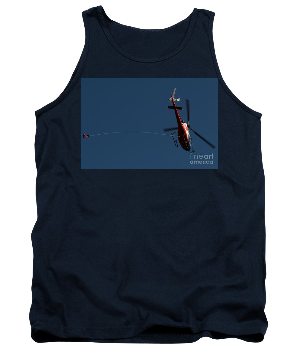 Helicopter Tank Top featuring the photograph Helicopter With A Hook by Mats Silvan