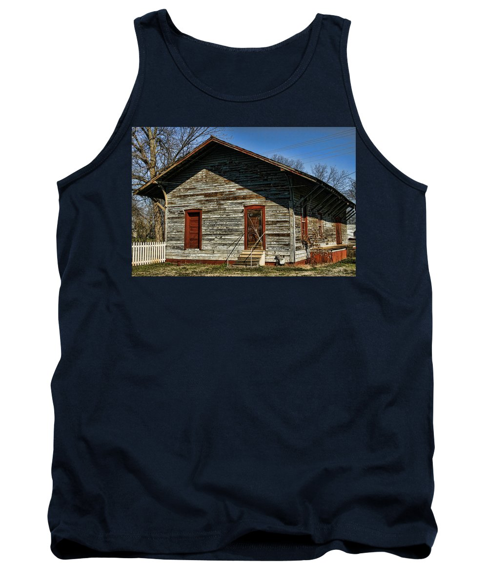 Railroad Tank Top featuring the photograph Historic Circa 1800s Railway Station by Kathy Clark