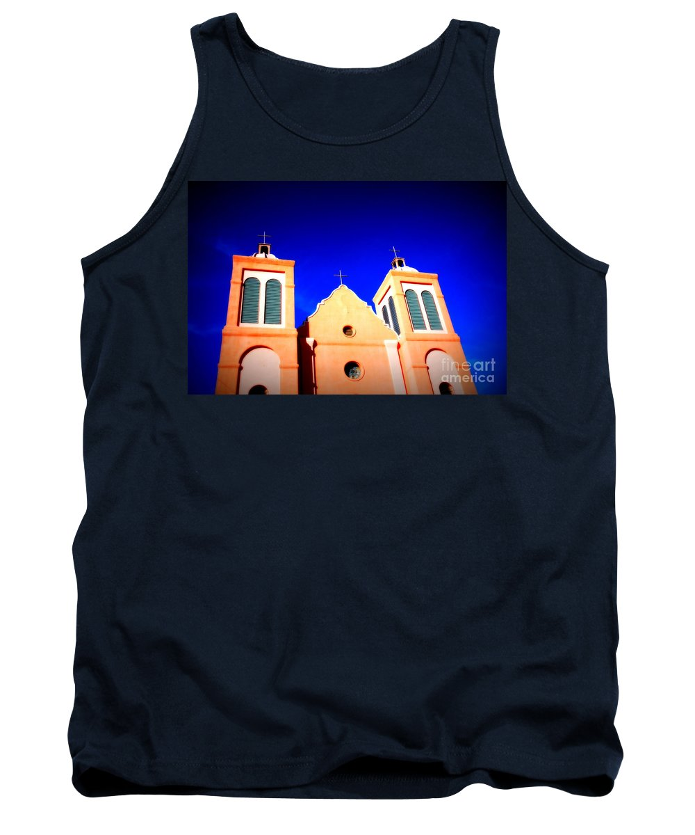 Mission Tank Top featuring the photograph Mission Church Silver City Nm by Susanne Van Hulst