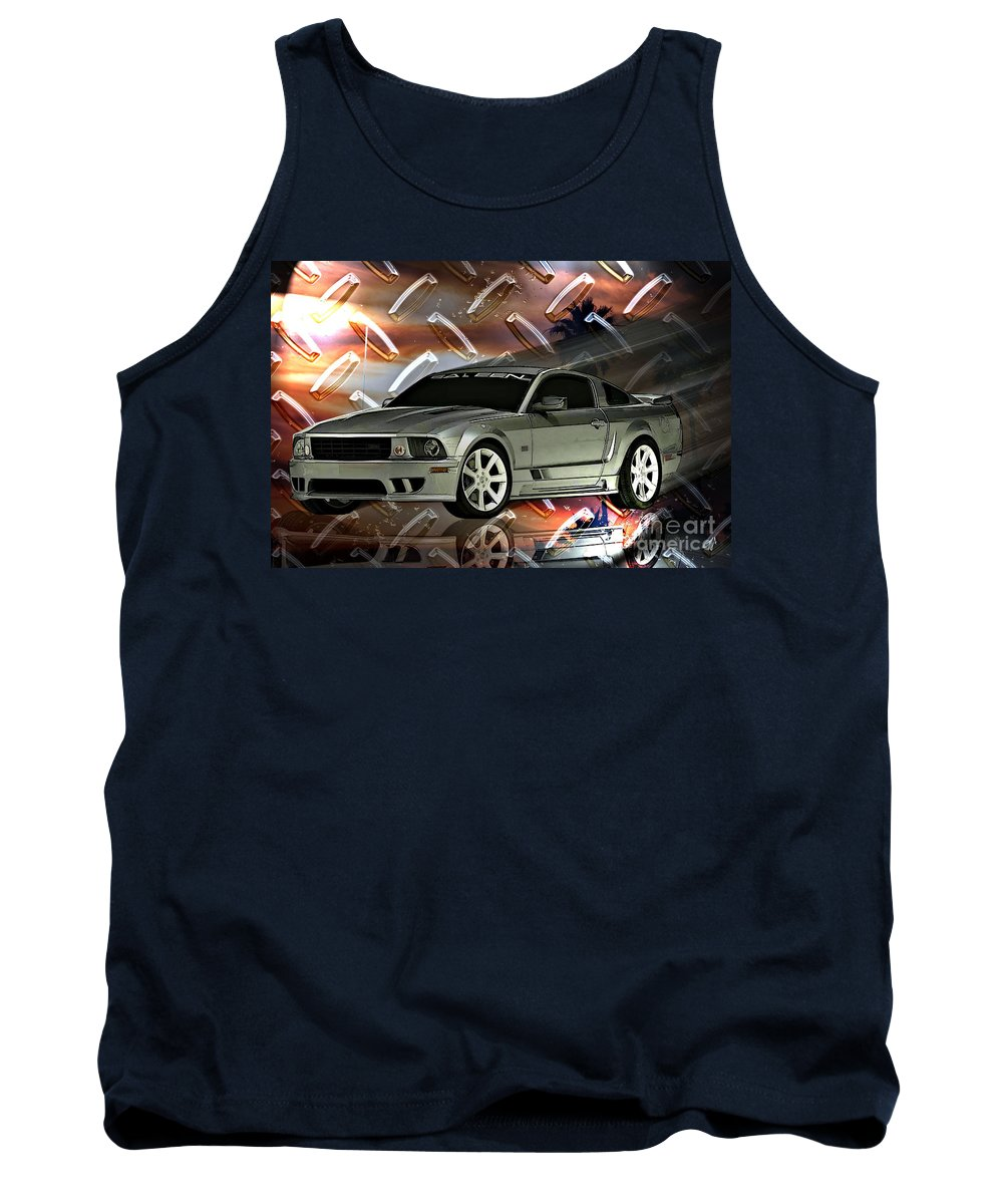 Mustang Tank Top featuring the digital art Mustang Saleen by Tommy Anderson