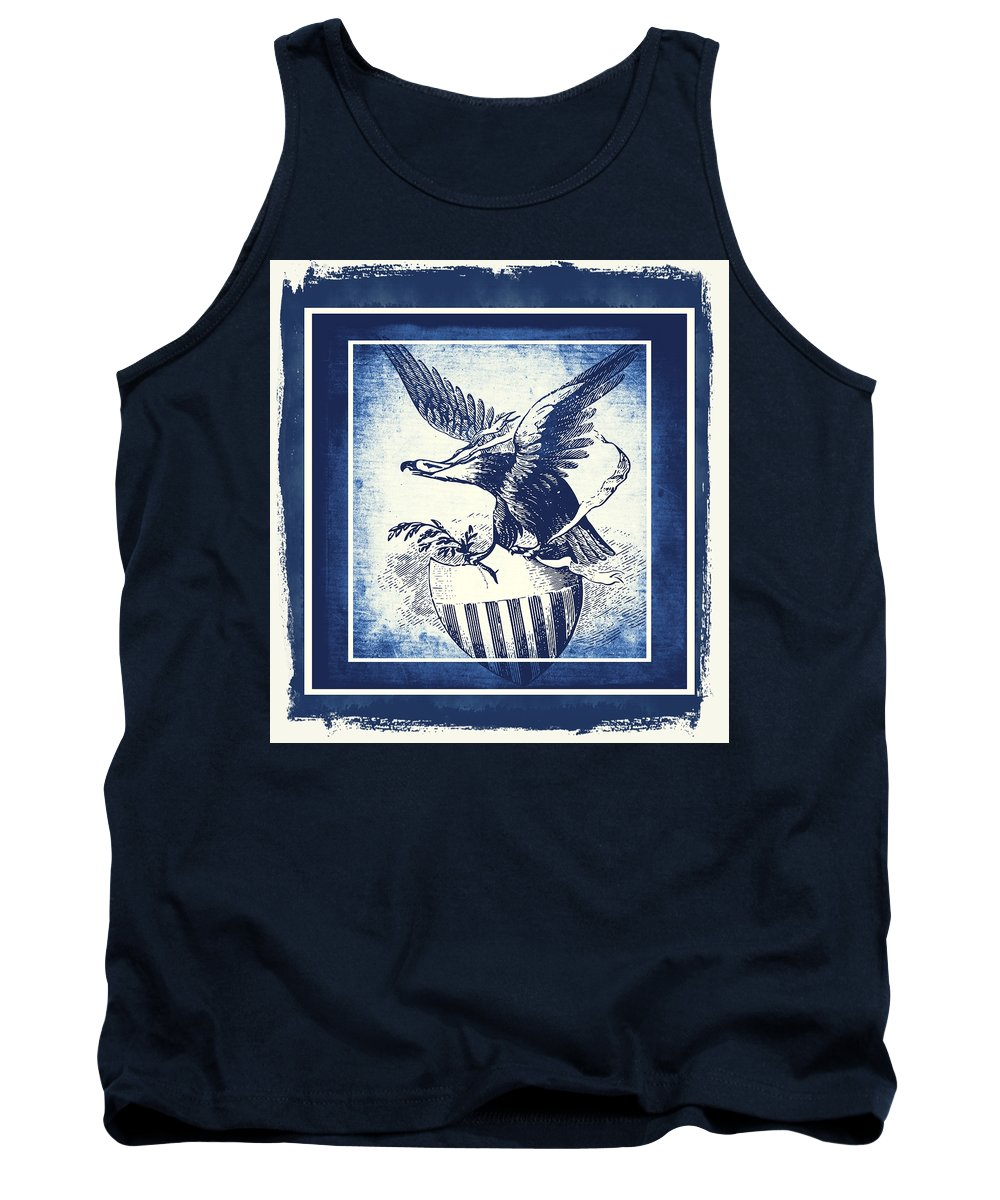 Usa Tank Top featuring the mixed media On Eagles Wings Blue by Angelina Vick