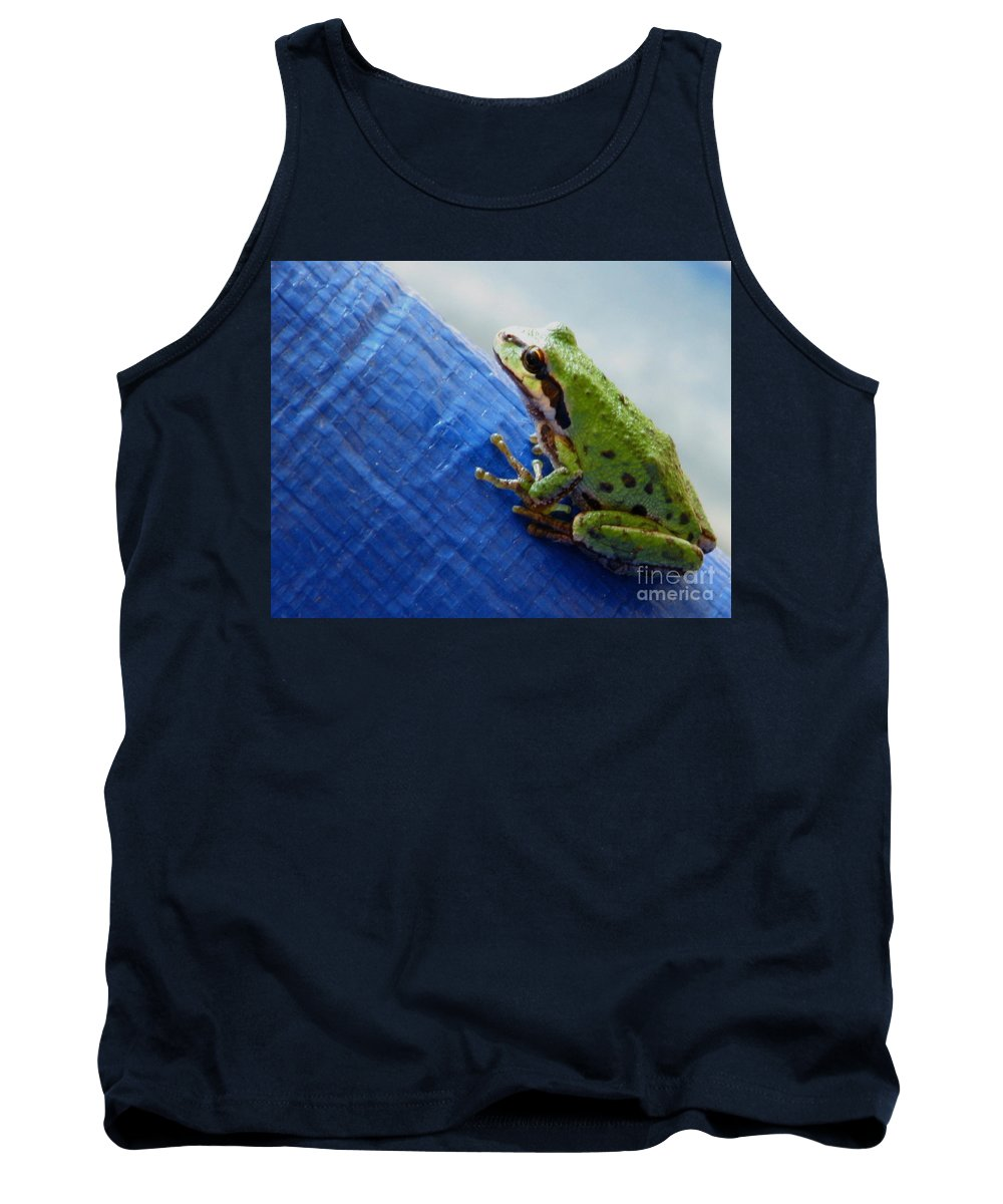 Frog Tank Top featuring the photograph Out From Under The Blue Tarp by Rory Sagner