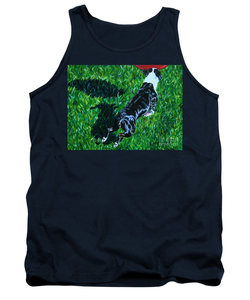 Boston Terrier Tank Top featuring the painting Red Ball Flight by Susan Herber