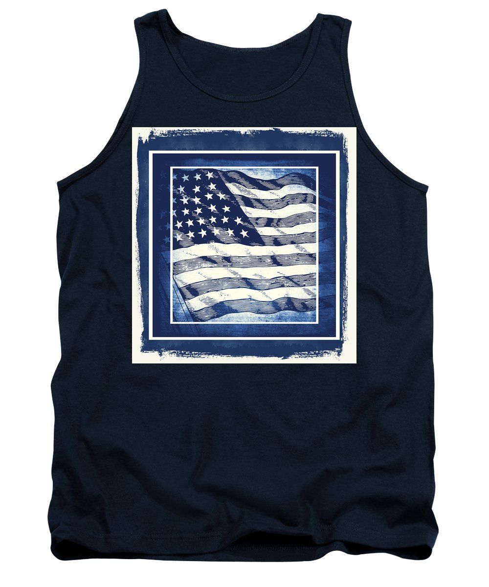 Usa Tank Top featuring the mixed media Star Spangled Banner Blue by Angelina Vick