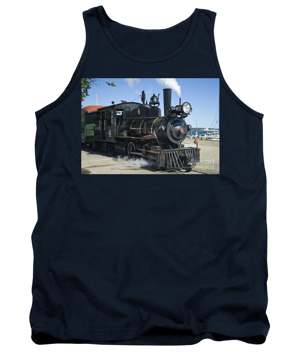 Forney Tank Top featuring the photograph Steam Engine And Sailboats by Tim Mulina