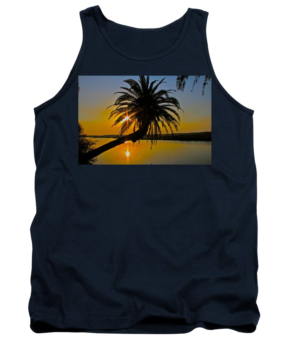 Loop Flagler Beach Palm Tree Sunrise Starburst Tank Top featuring the photograph Sunrise On The Loop by Alice Gipson