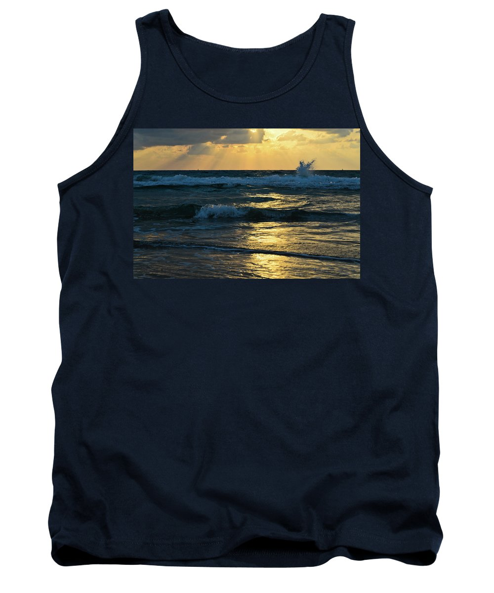 Blue Tank Top featuring the photograph Sunset by Michael Goyberg