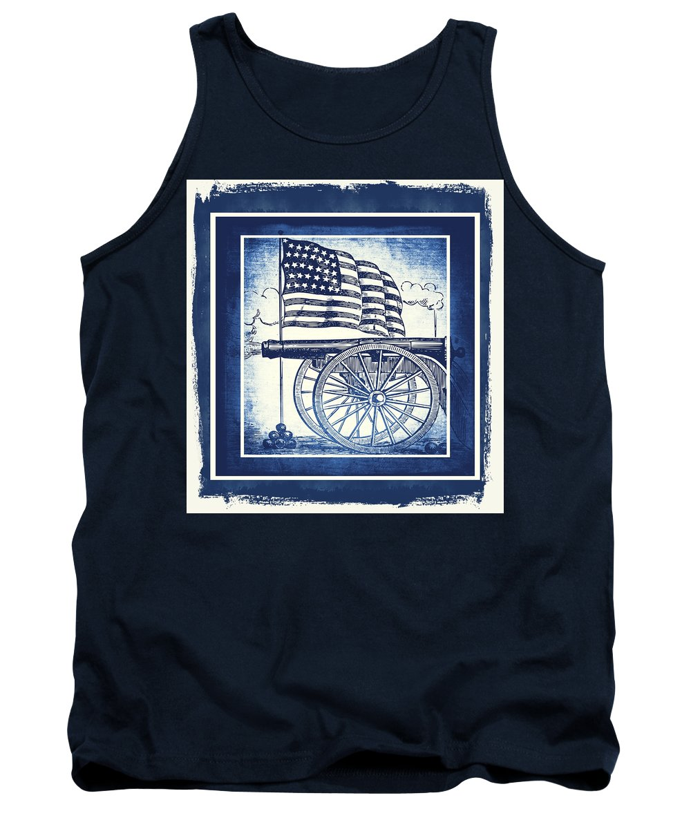 Usa Tank Top featuring the mixed media The Bombs Bursting In Air Blue by Angelina Vick