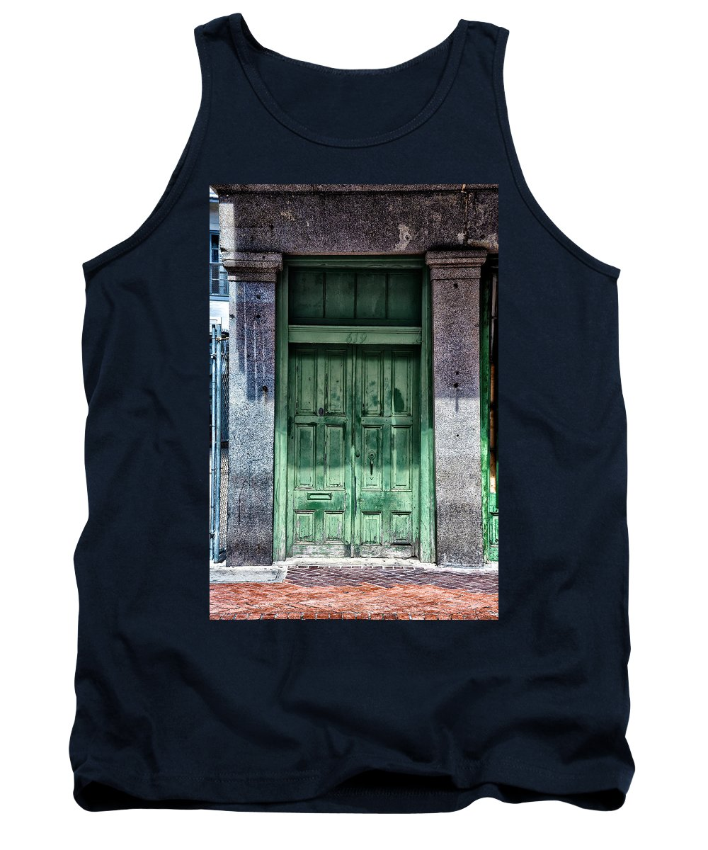 The Green Door In The French Quarter Tank Top featuring the photograph The Green Door In The French Quarter by Bill Cannon