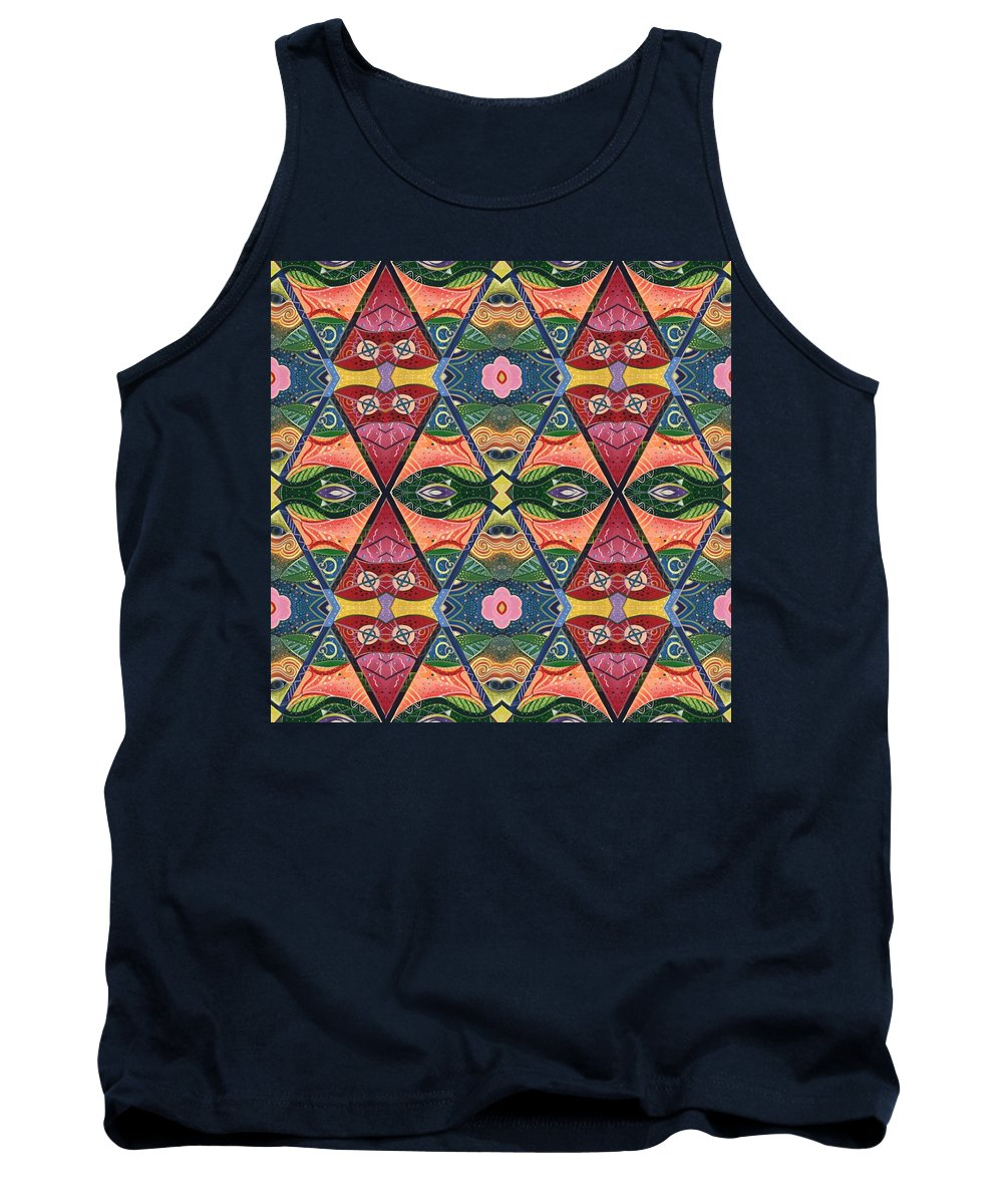 Masks Tank Top featuring the digital art The Joy Of Design V Arrangement Strength In Numbers by Helena Tiainen
