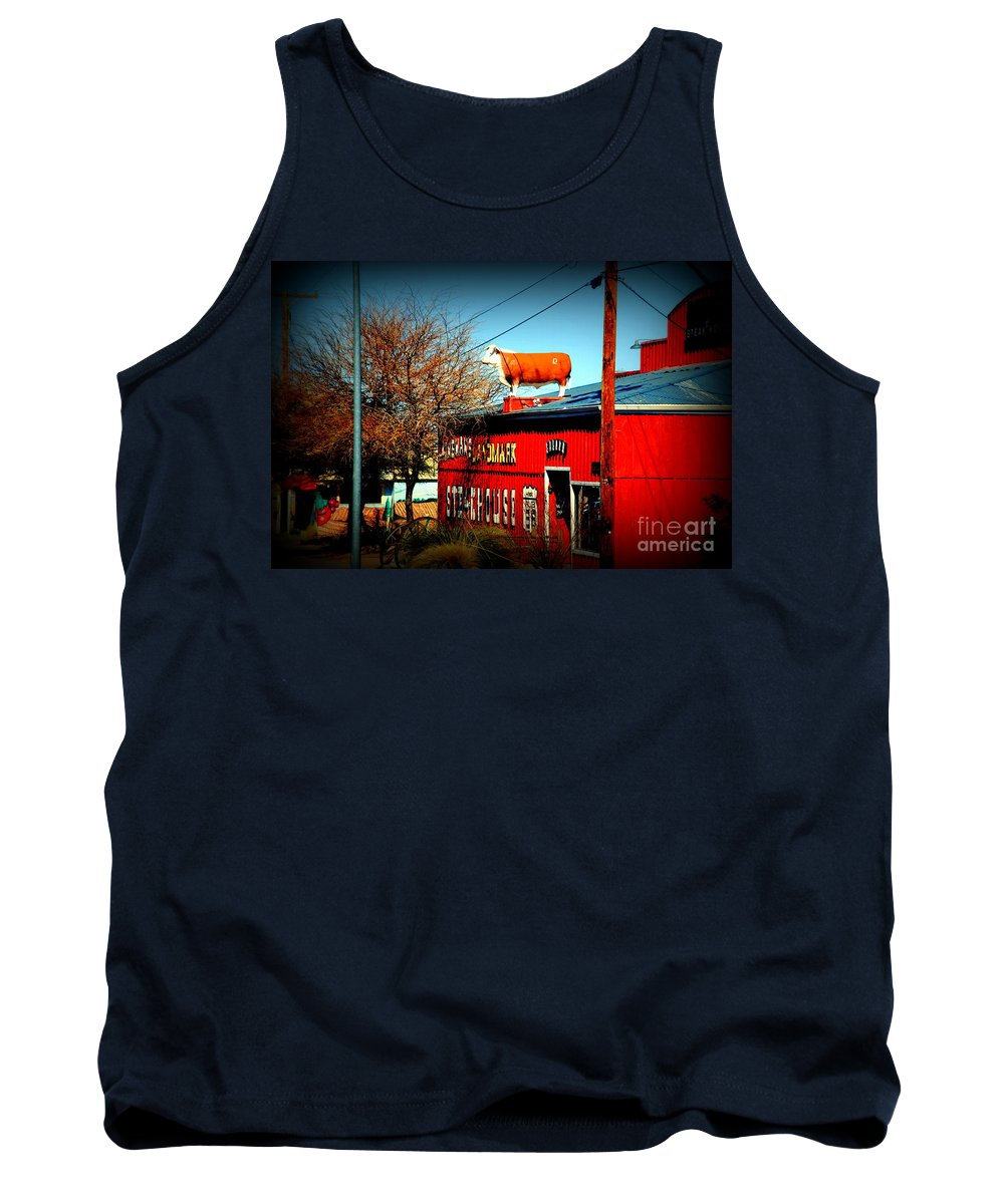 Red Steakhouse On Route 66 Tank Top featuring the photograph The Steakhouse On Route 66 by Susanne Van Hulst