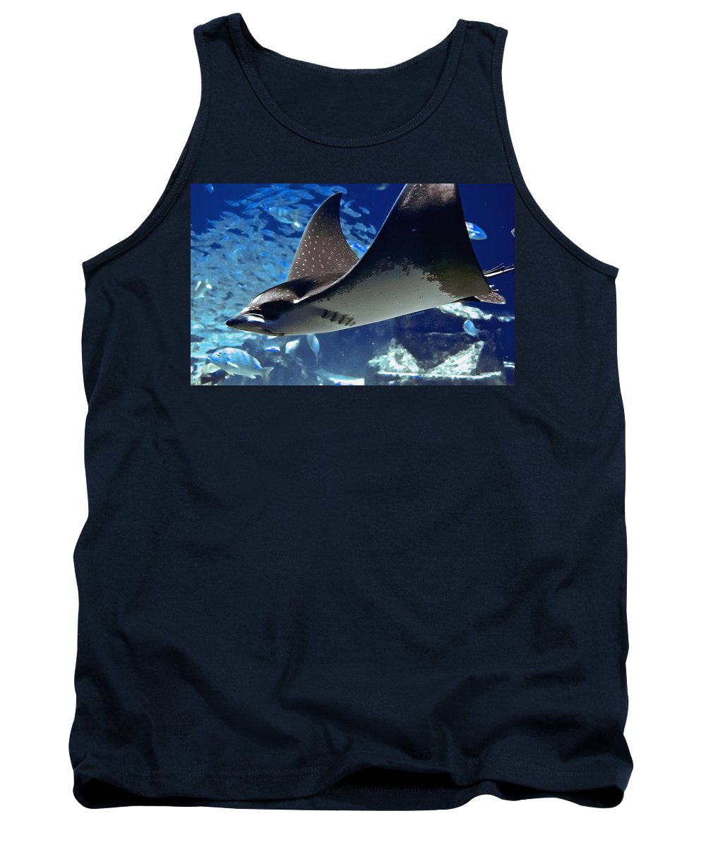 Spotted Eagle Ray Tank Top featuring the photograph Underwater Flight by DigiArt Diaries by Vicky B Fuller