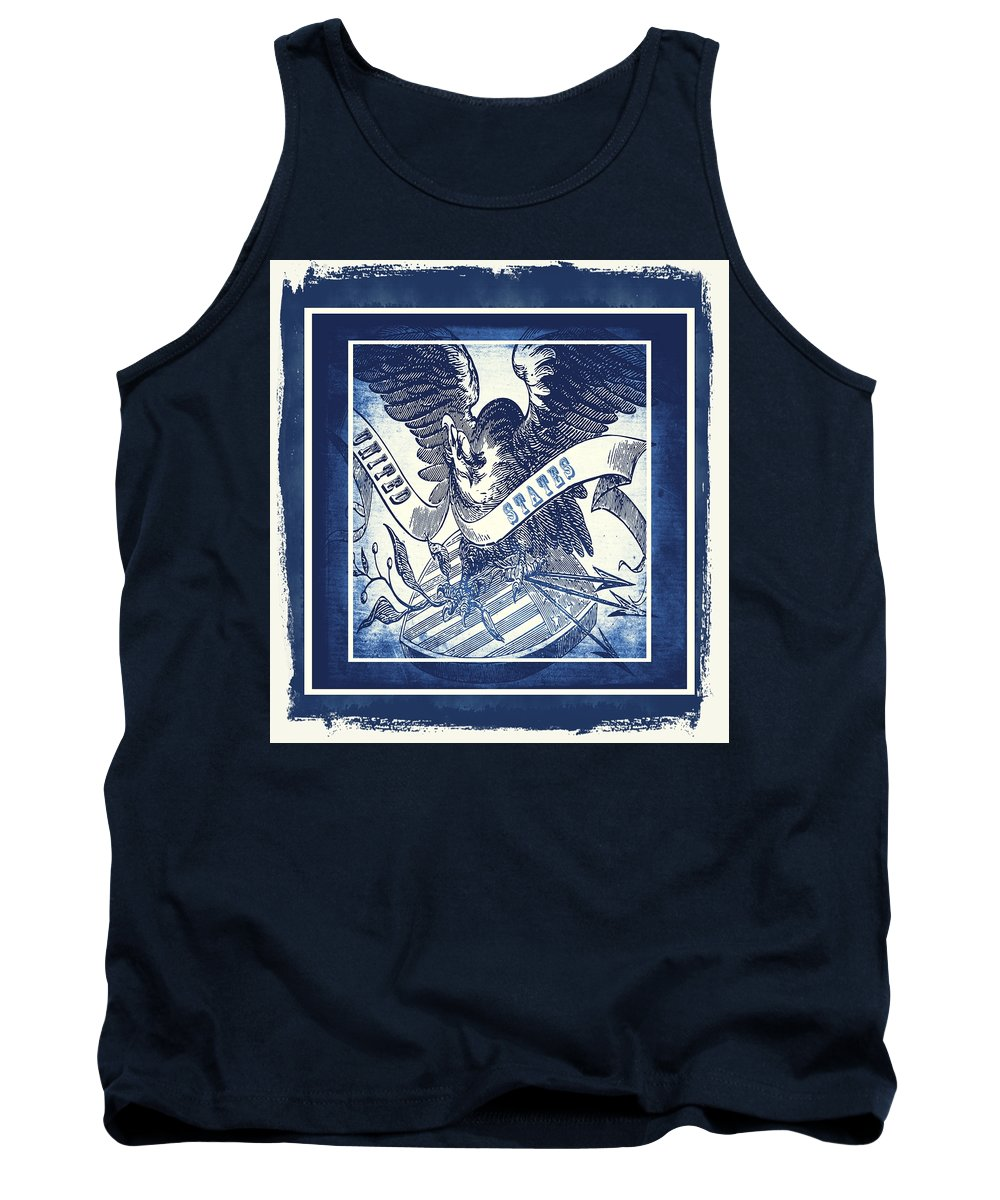 Usa Tank Top featuring the mixed media United States Blue by Angelina Vick