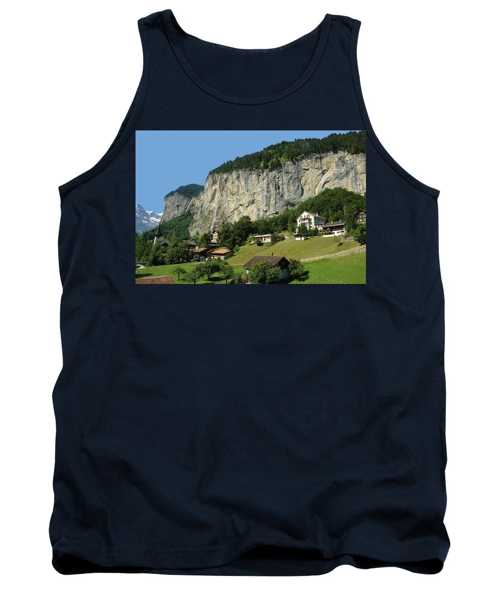 Cliff Tank Top featuring the photograph View Of Greenery And Waterfalls On A Swiss Cliff by Ashish Agarwal