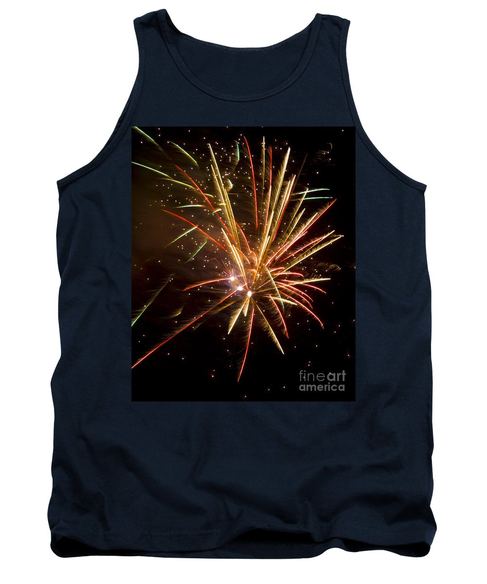 Fireworks Tank Top featuring the photograph Yellow And Red Fireworks by Darleen Stry