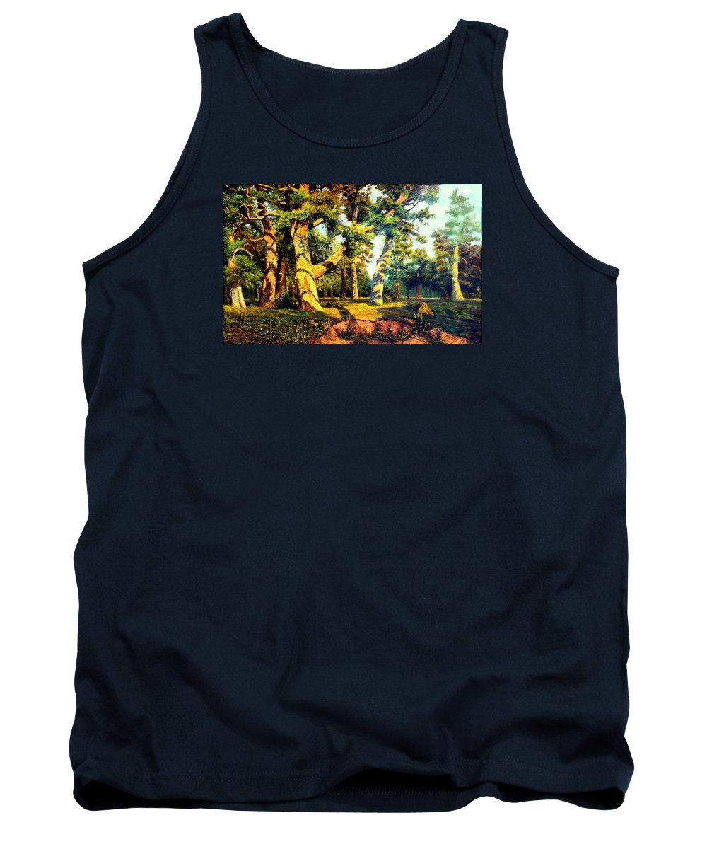 Henryk Tank Top featuring the painting  Green Summer-the Oak Forest by Henryk Gorecki