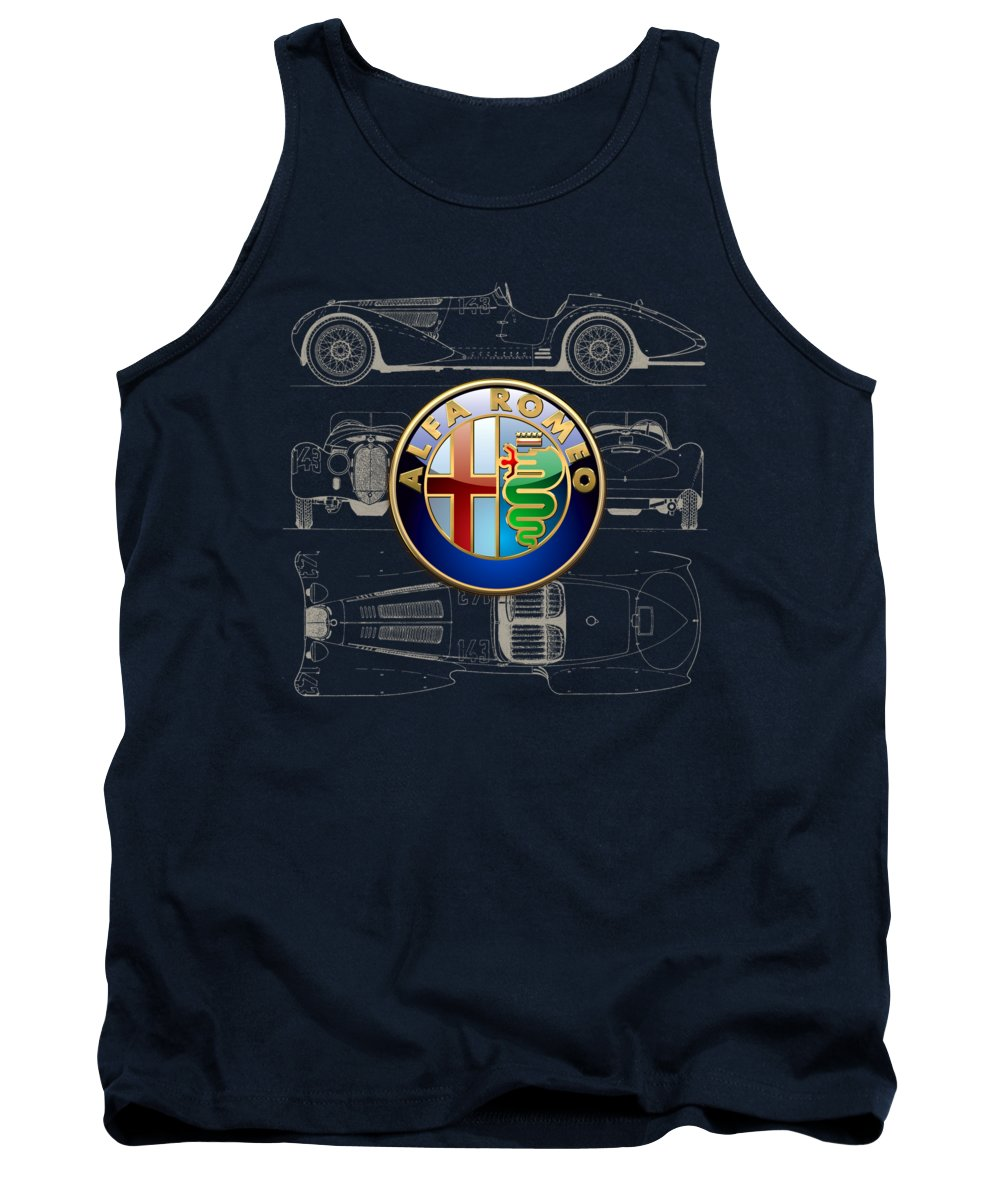 �wheels Of Fortune� By Serge Averbukh Tank Top featuring the photograph Alfa Romeo 3 D Badge Over 1938 Alfa Romeo 8 C 2900 B Vintage Blueprint by Serge Averbukh