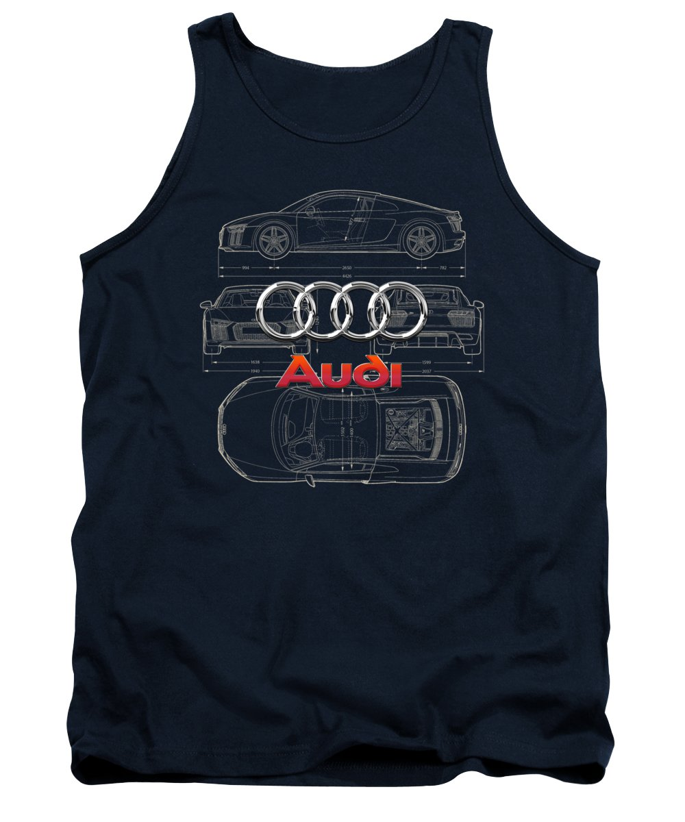 �wheels Of Fortune� Collection By Serge Averbukh Tank Top featuring the photograph Audi 3 D Badge over 2016 Audi R 8 Blueprint by Serge Averbukh