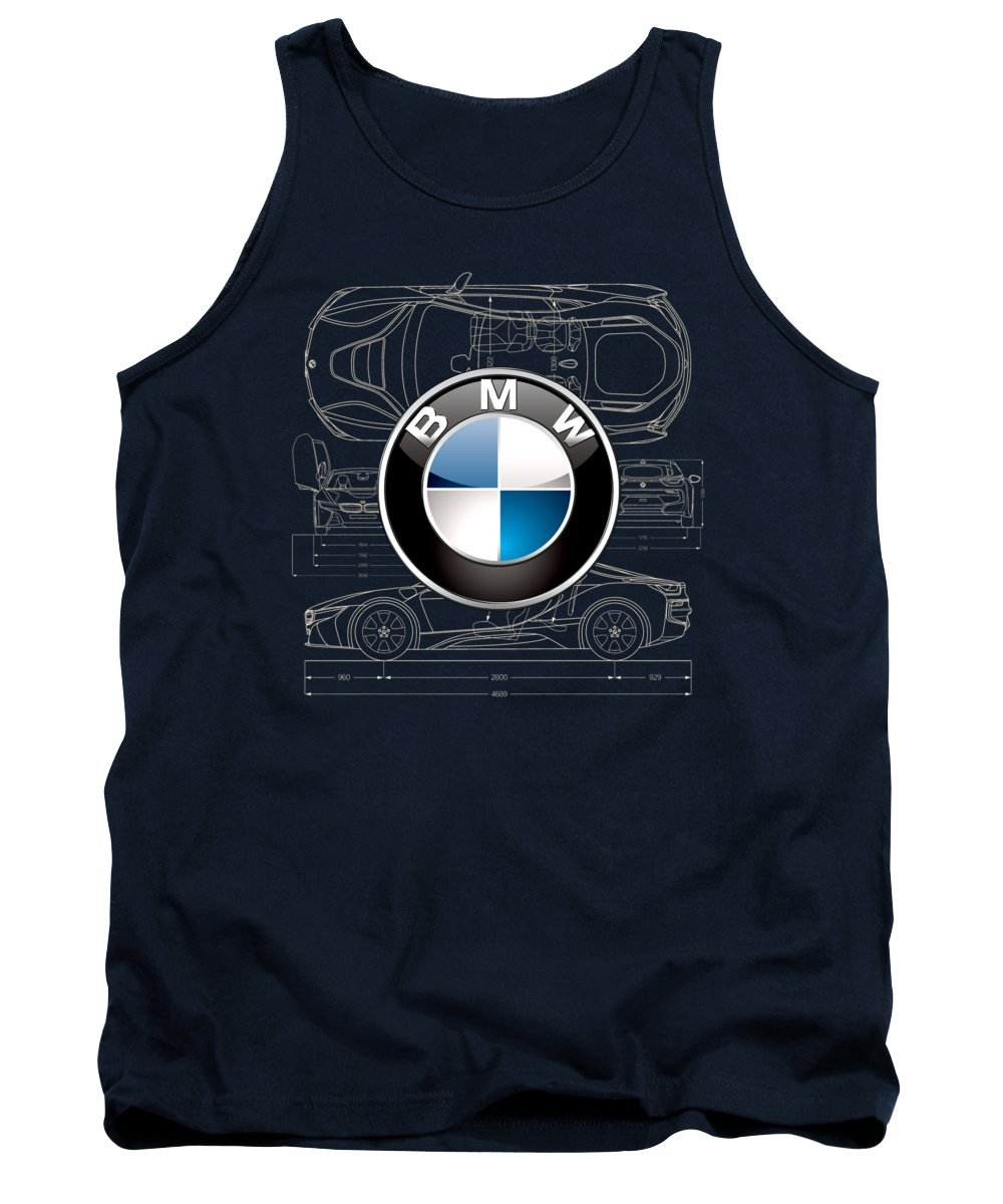 �wheels Of Fortune� By Serge Averbukh Tank Top featuring the photograph B M W 3 D Badge Over B M W I8 Blueprint by Serge Averbukh