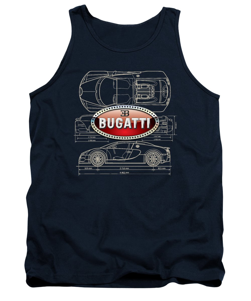�wheels Of Fortune� By Serge Averbukh Tank Top featuring the photograph Bugatti 3 D Badge Over Bugatti Veyron Grand Sport Blueprint by Serge Averbukh