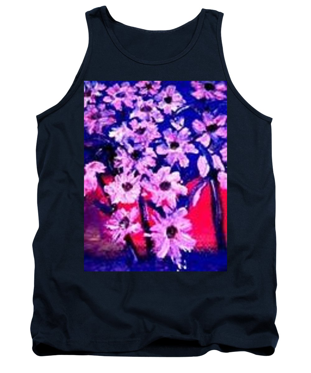 Flowers Tank Top featuring the painting Sunset With Flowers by Marilyn Ingrid St-Pierre