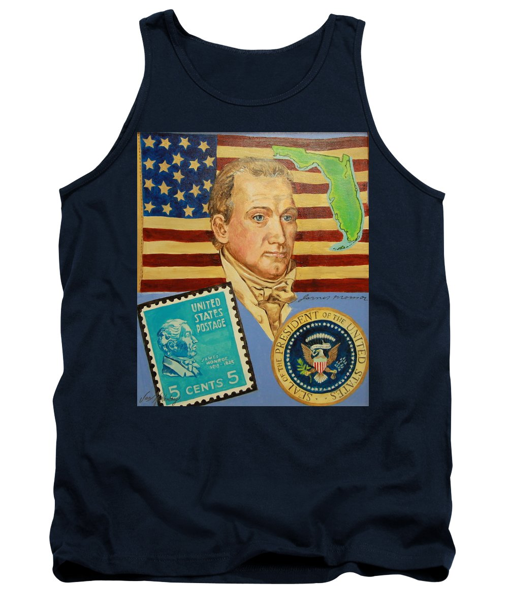 Portrait Of James Monroe Tank Top featuring the painting James Monroe by Jan Mecklenburg