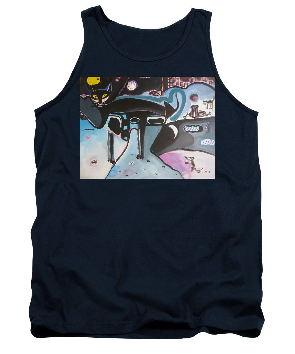 Cat Paintings Tank Top featuring the painting Let Me Out by Seon-Jeong Kim