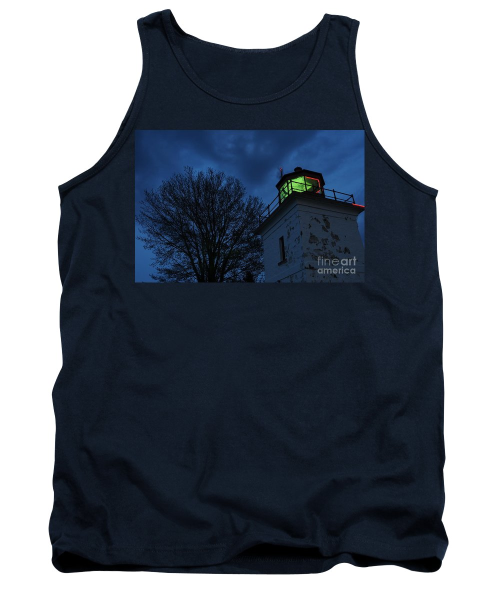 Beacon Tank Top featuring the photograph Lighthouse At Night by Joe Ng