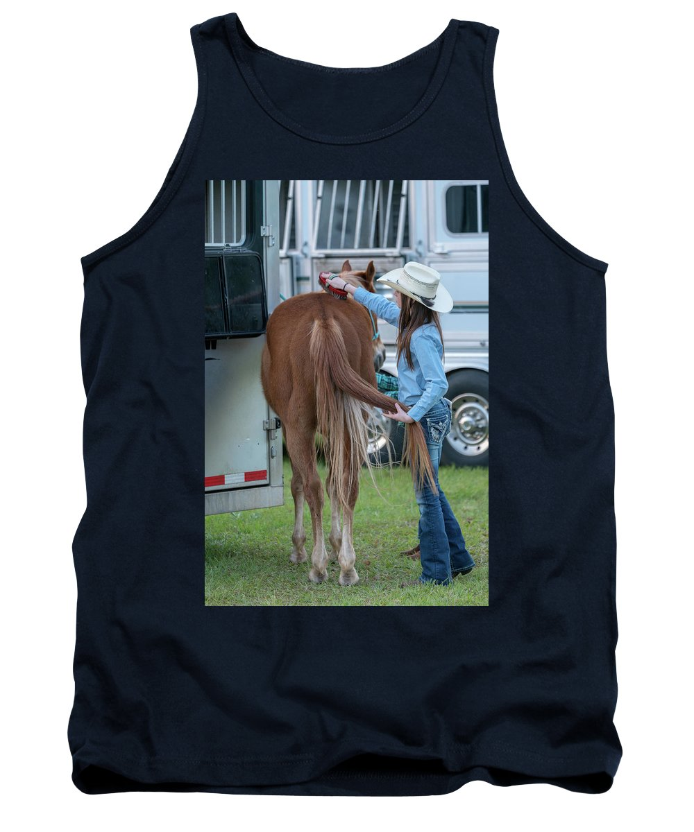 Rodeo Tank Top featuring the photograph Lil' Cowgirl by Glenn Matthews
