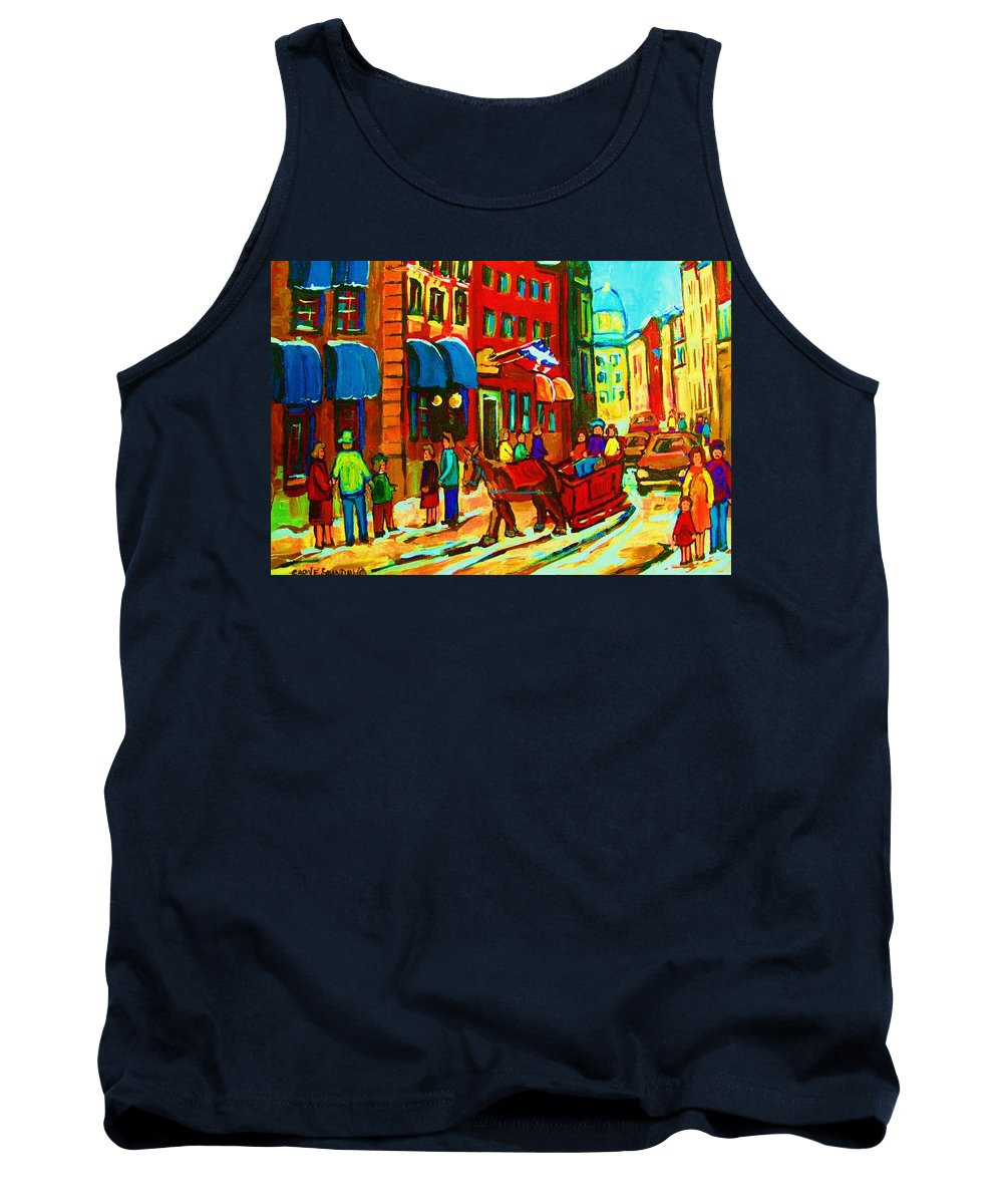 Montreal Tank Top featuring the painting The Red Sled by Carole Spandau