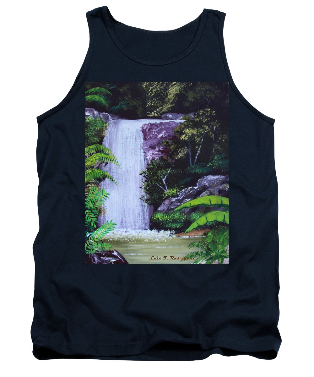 Tropical Tank Top featuring the painting Tropical Waterfall by Luis F Rodriguez