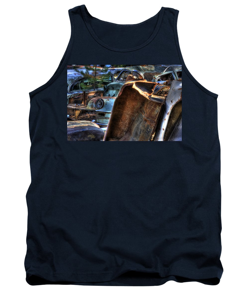 Automotive Tank Top featuring the photograph Wrecking Yard Study 8 by Lee Santa