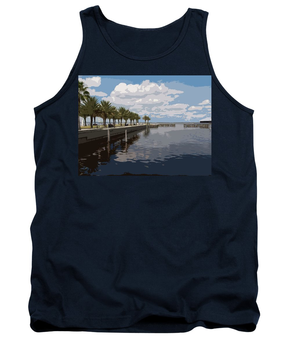 Veterans Tank Top featuring the painting Lake Monroe At The Port Of Sanford Florida by Allan Hughes