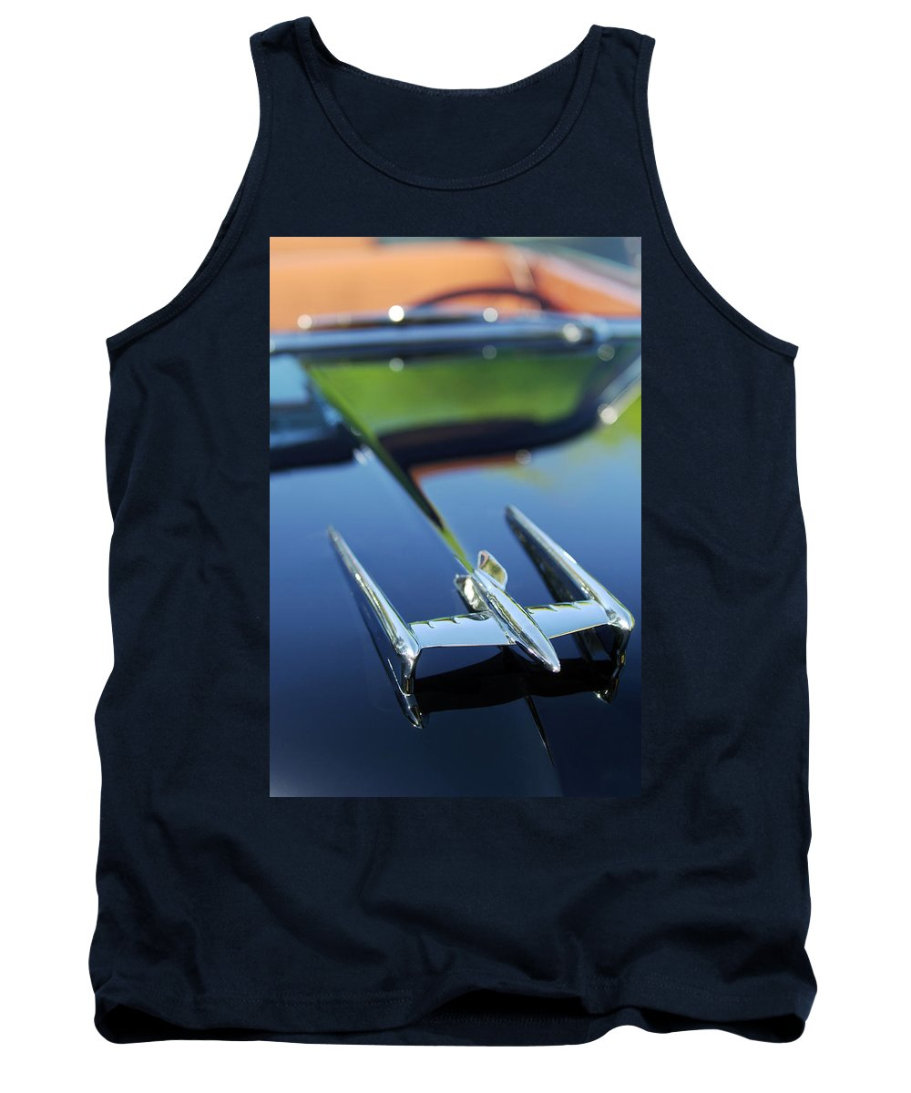 Car Tank Top featuring the photograph 1950 Oldsmobile Rocket 88 Convertible Hood Ornament by Jill Reger