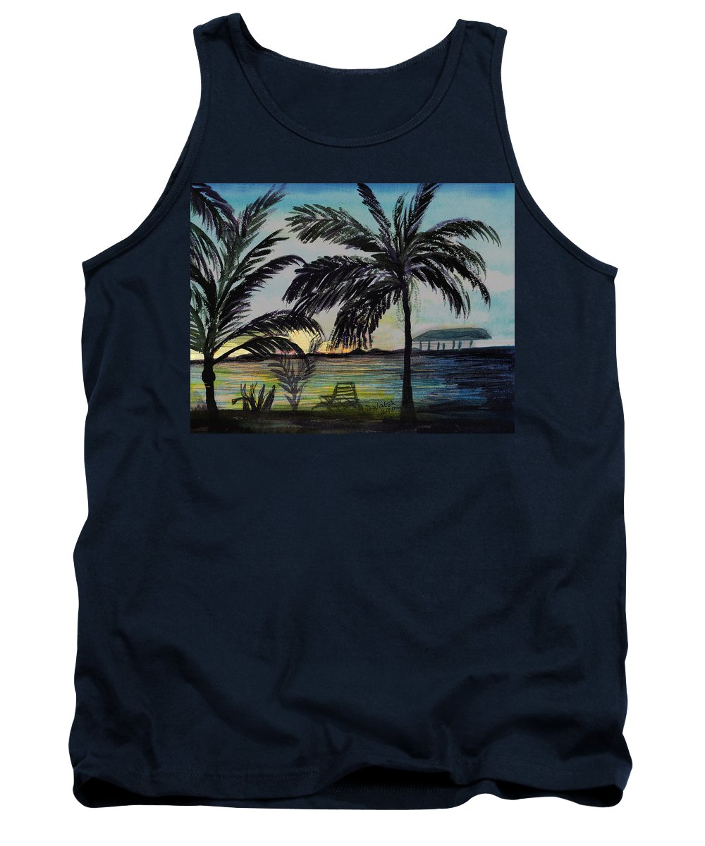 Roatan Tank Top featuring the painting Roatan Sunset by Donna Walsh