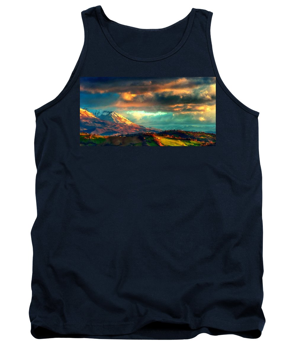 At Tank Top featuring the digital art P W Landscape by Usa Map